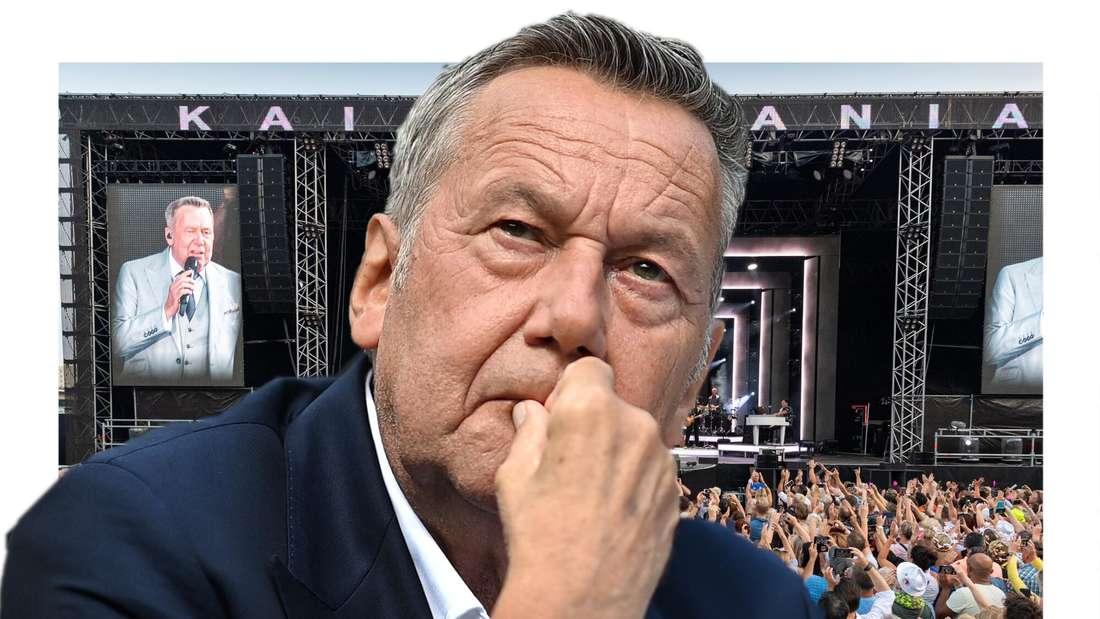 Roland Kaiser sieht nachdenklich aus, im Hintergrund ein Konzert der Kaisermania. (Fotomontage)