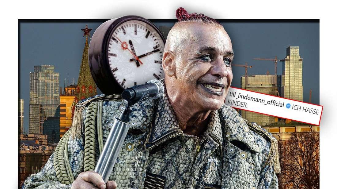 Rammstein-Frontmann Till Lindemann neben einer Uhr vor der Skyline Moskaus (Fotomontage)