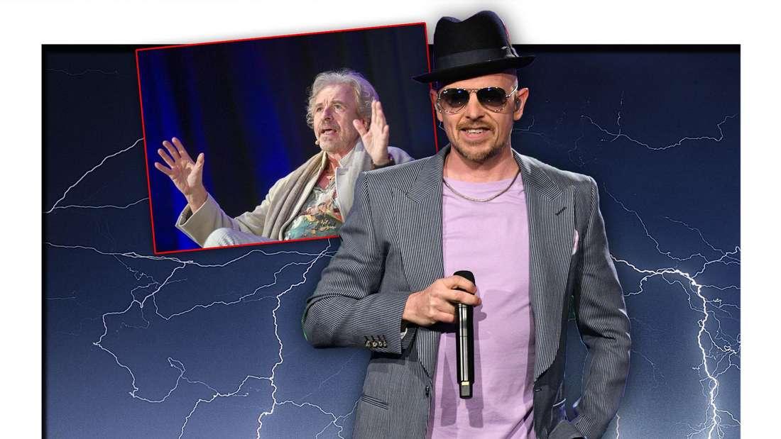 Rap- und Soul-Künstler Jan Delay steht neben Thomas Gottschalk vor hellen Blitzen (Fotomontage)
