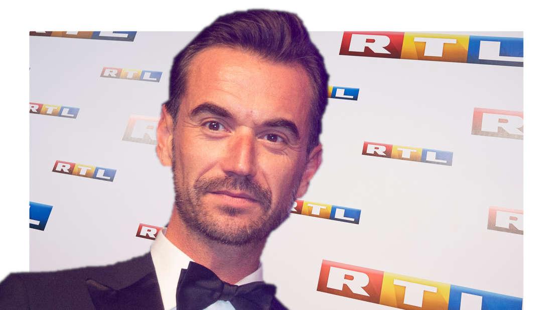 Florian Silbereisen vor einer Wand mit RTL-Logos. (Fotomontage)