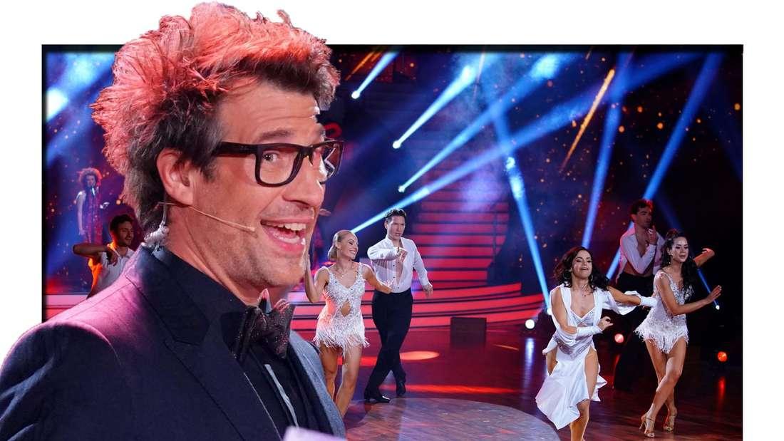 Daniel Hartwich schaut in die Kamera - im Hintergrund sind Tänzer:innen zu sehen (Fotomontage)