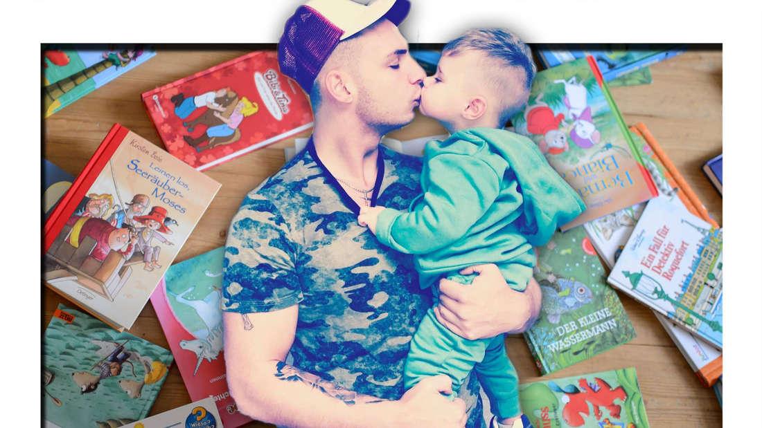 Fotomontage: Pietro Lombardi küsst seinen Sohn Alessio, Kinderbücher im Hintergrund