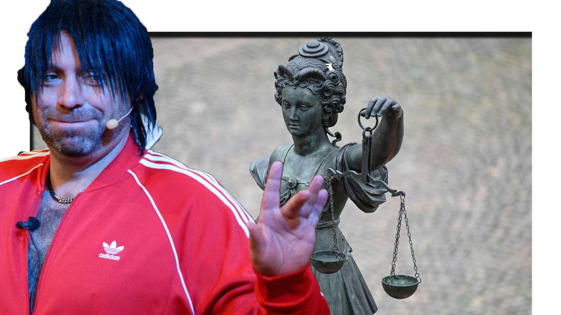 Ikke Hüftgold schaut in die Kamera, im Hintergrund ist die Justitia Skulptur zu sehen (Fotomontage)