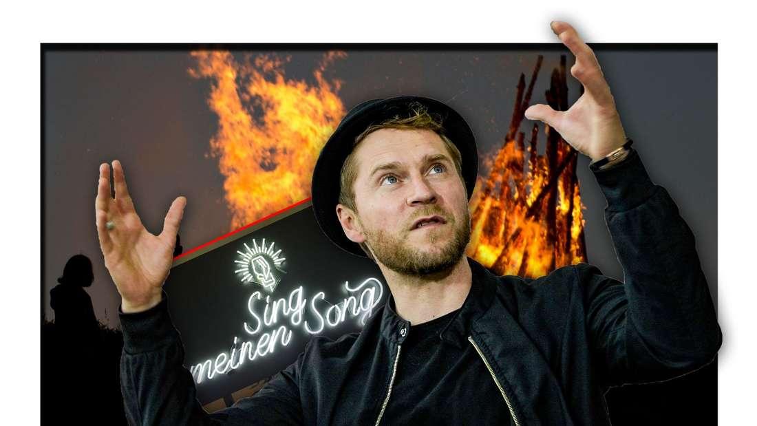 """Johannes Oerding steht neben dem Logo von """"Sing meinen Song"""" (Vox) vor einem Lagerfeuer (Fotomontage)"""