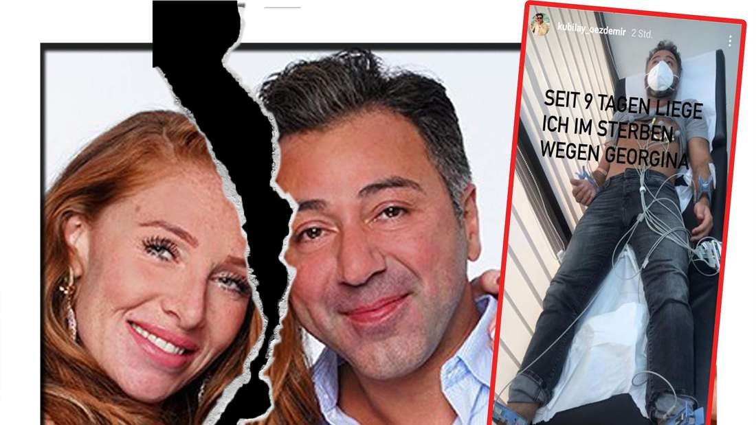 Fotomontage: Georgina Fleur und Kubilay Özdemir, daneben ein Screenshot aus seiner Instagramstory, er auf einem Krankenbett liegend