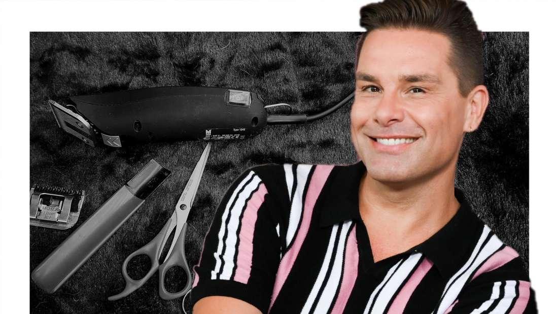 Eloy de Jong lächelt, im Hintergrund Friseur-Scheren (Fotomontage)