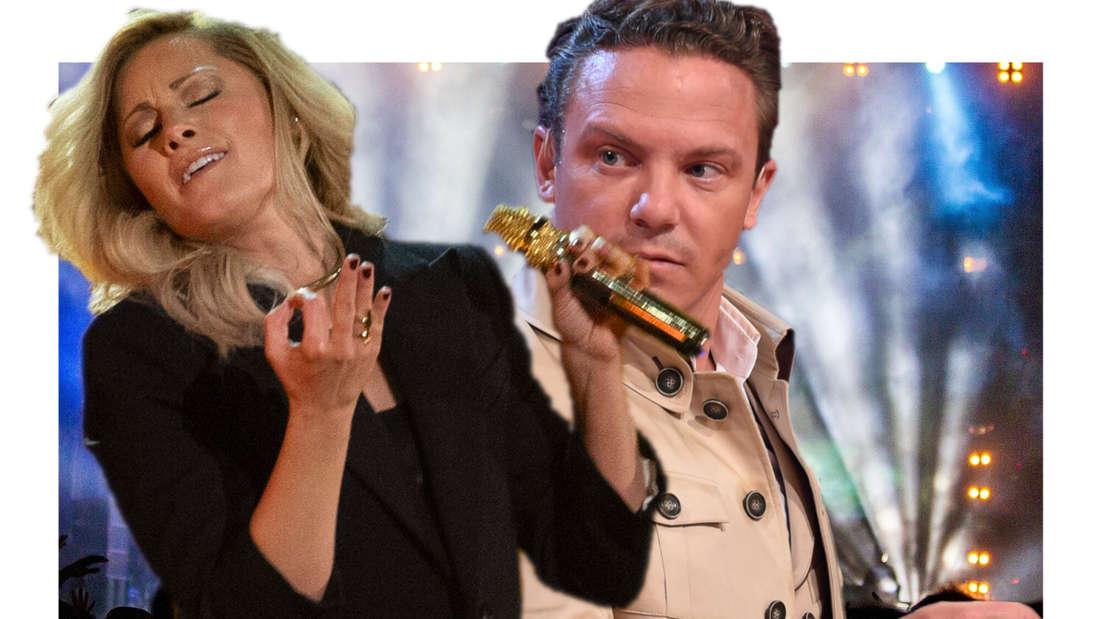 Stefan Mross und Helene Fischer, im Hintergrund ein Konzert (Fotomontage)