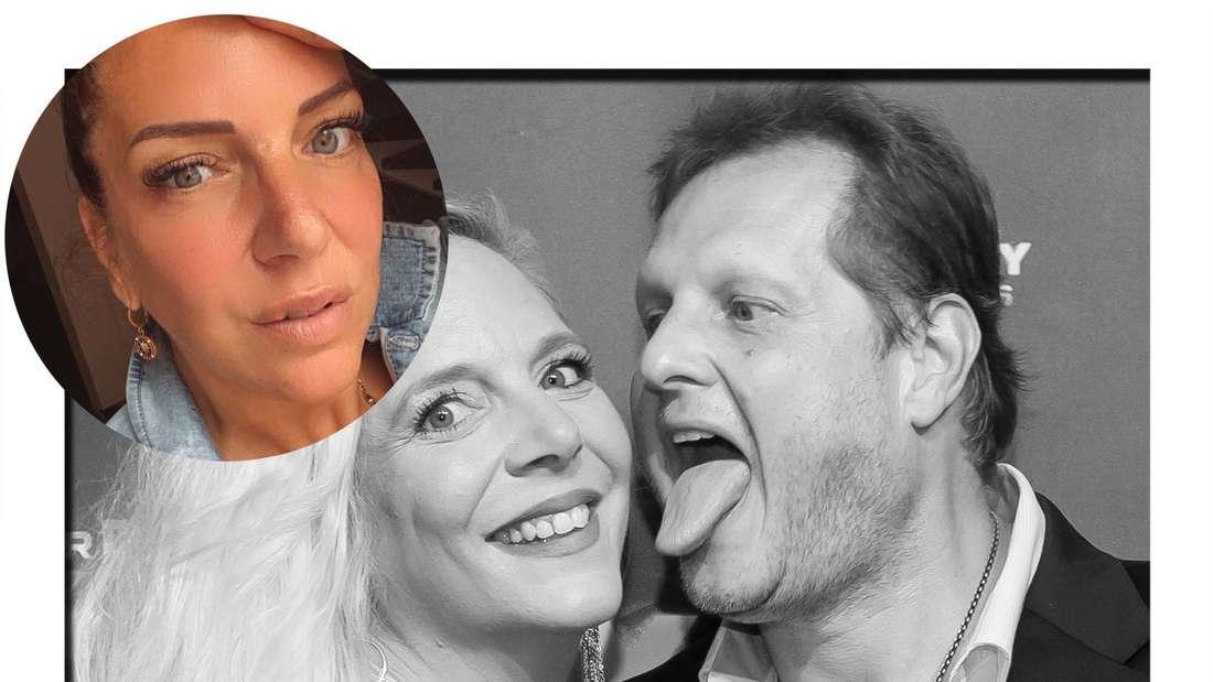 Fotomontage: Danni Büchner, dahinter sie und ihr vestorbener Mann Jens Büchner