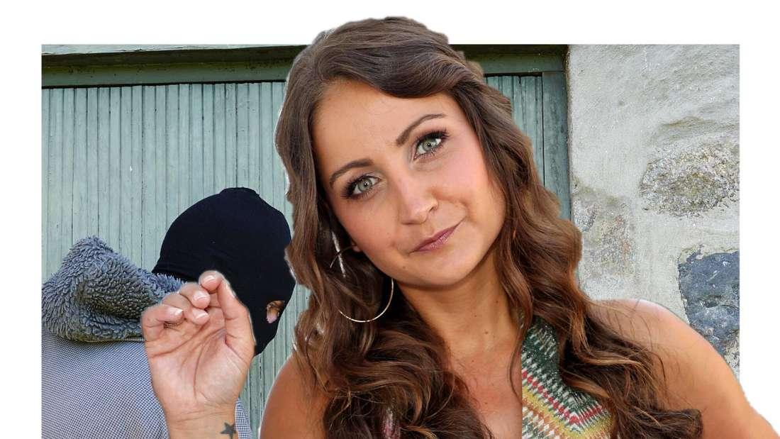 Eva Luginger, ein maskierter Einbrecher im Hintergrund (Fotomontage)