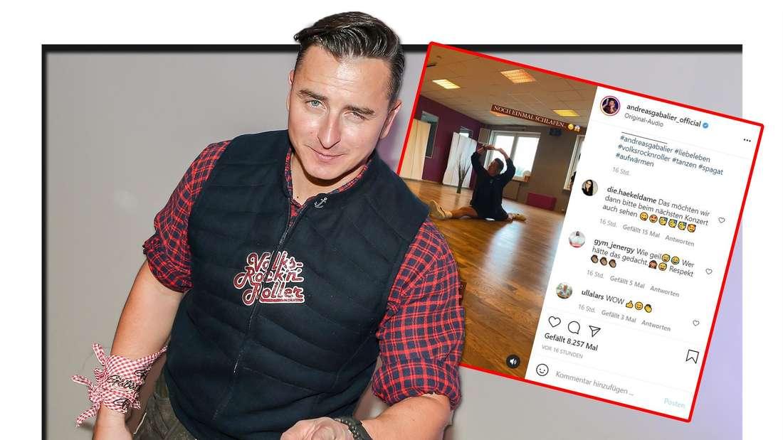 Andreas Gabalier sitzt im Spagat - Selbst seine Trainerin macht Sänger sprachlos (Fotomontage)