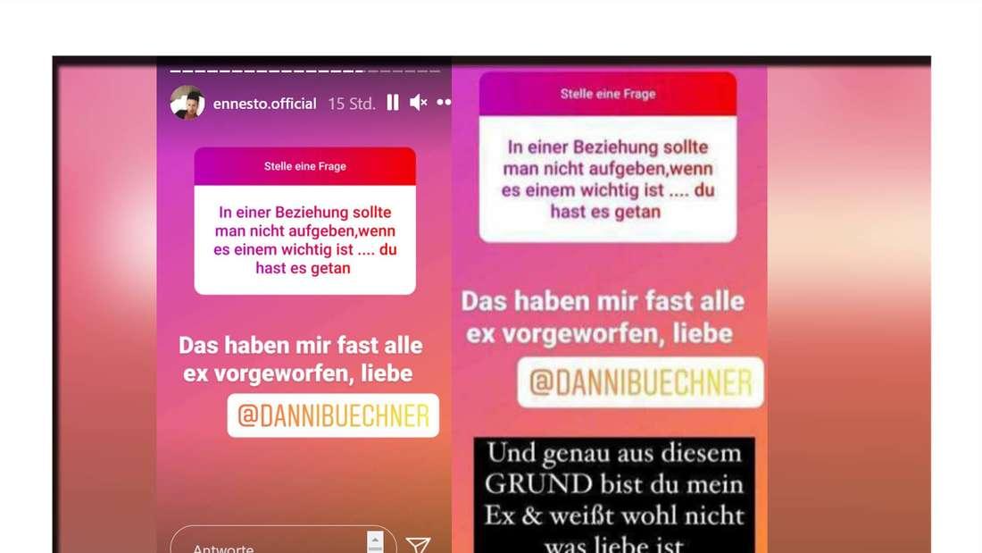 Instagramscreenshots von Danni Büchner und Ennesto Monté