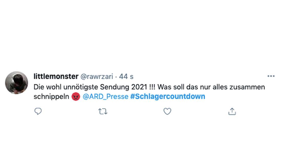 Twitter Kommentar über Florian Silbereisen Schlagercountdown