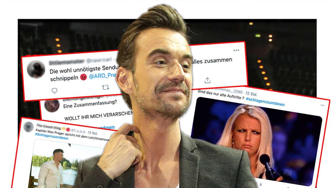 """Florian Silbereisen bei den """"Schlagerchampions 2020 - Das grosse Fest der Besten"""" am 11.01.2020 in Berlin. Dahinter: Twitter-Kommentare zu seiner neuen Show Schlagercountdown (Fotomontage)"""