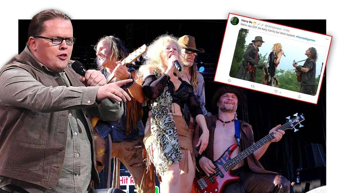 Angelo Kelly von der Kelly Family steht neben der schwedischen Band Rednex, daneben ein Tweet über den ZDF-Fernsehgarten (Fotomontage)