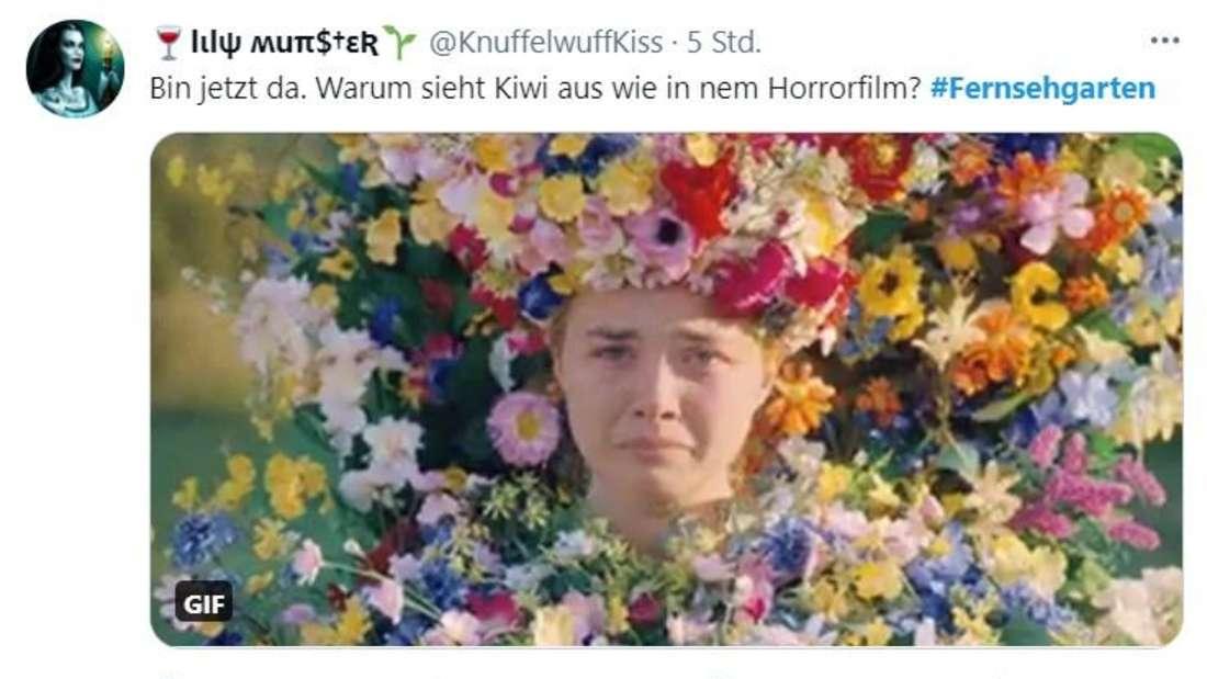 """Ein Tweet über den ZDF-Fernsehgarten, in dem Andrea Kiewel mit der Protagonistin aus """"Midsommar"""" verglichen wird"""