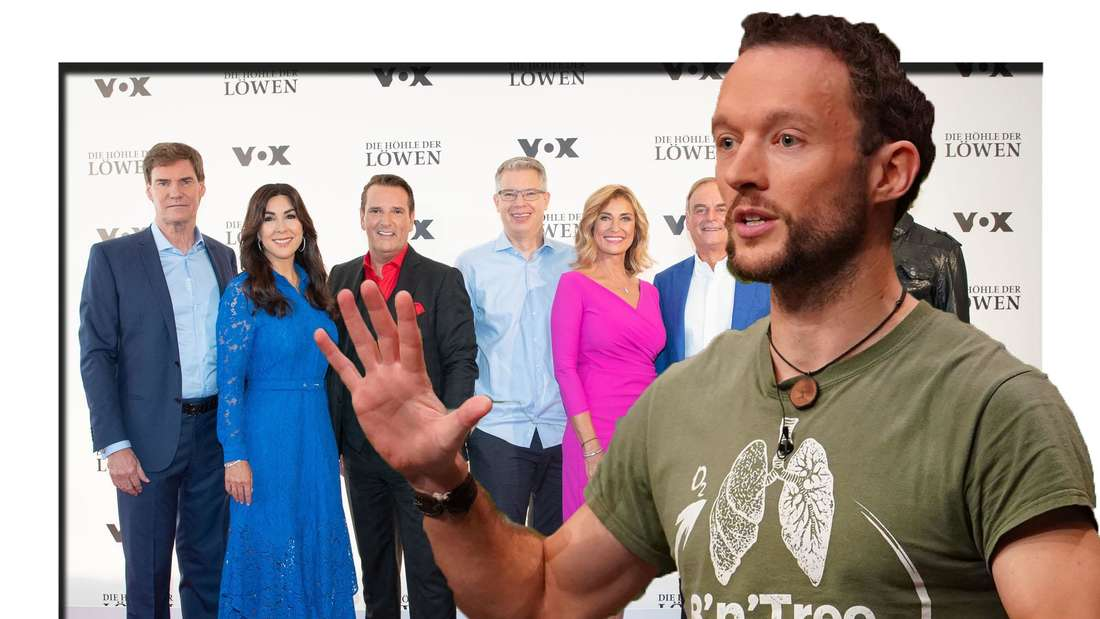 """Kandidat Chris hält eine Hand in die Luft - dahinter ist die Jury von """"Höhle der Löwen"""" zu sehen (Fotomontage)"""