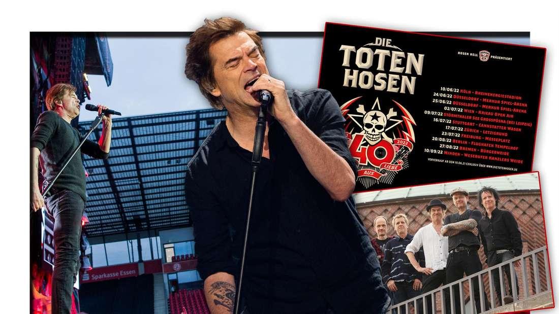 Die Toten Hosen-Frontmann Campino steht neben dem Tourplakat der Band, einem Bandfoto und einem Bild eines Konzerts (Fotomontage)