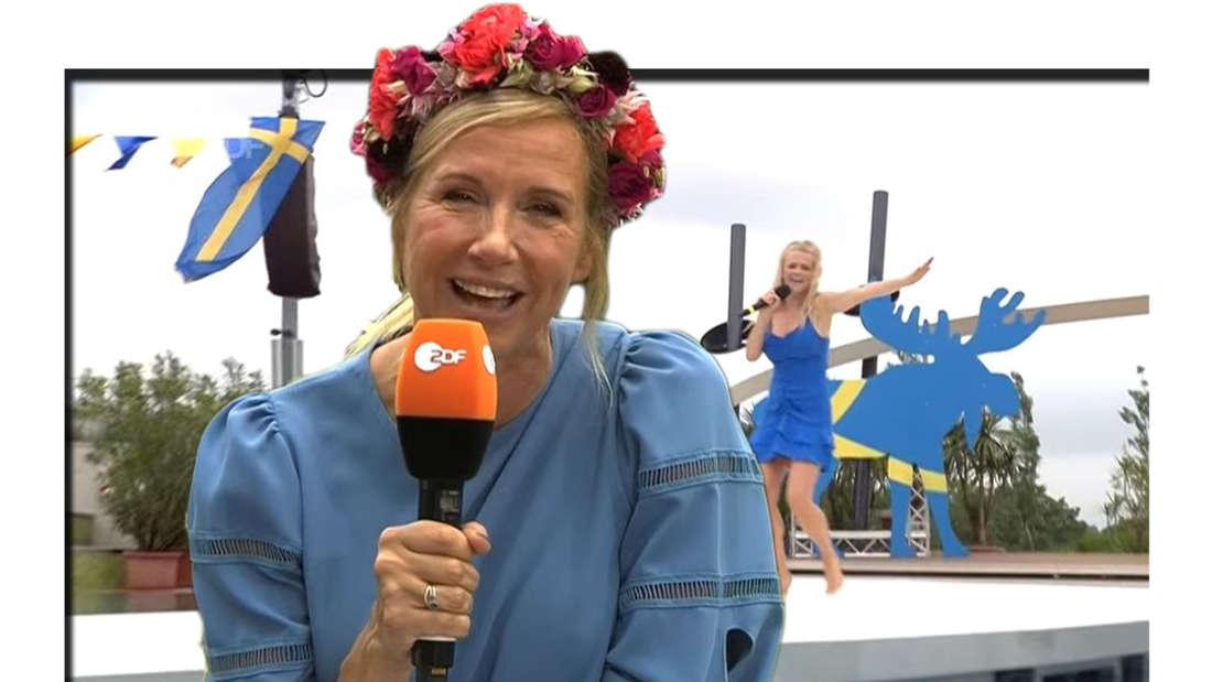 Fotomontage: Andrea Kiewel hält Mikrofon und Julia Lindholm steht im Hintergrund auf der Bühne