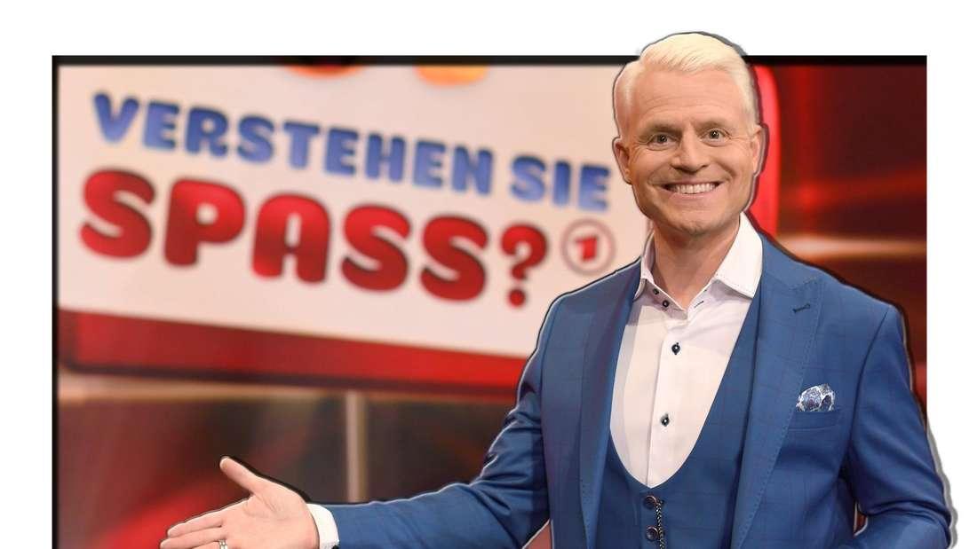 Guido Cantz posiert lächelnd für den SWR (Fotomontage)