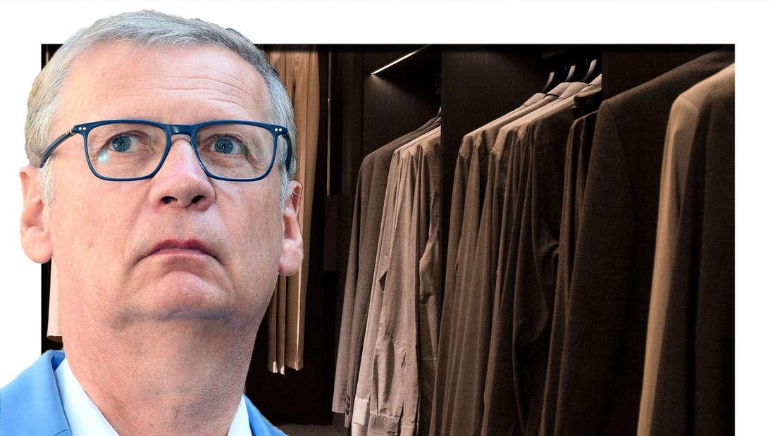 Günther Jauch schaut in die Kamera - im Hintergrund ist ein Kleiderschrank zu sehen (Fotomontage)