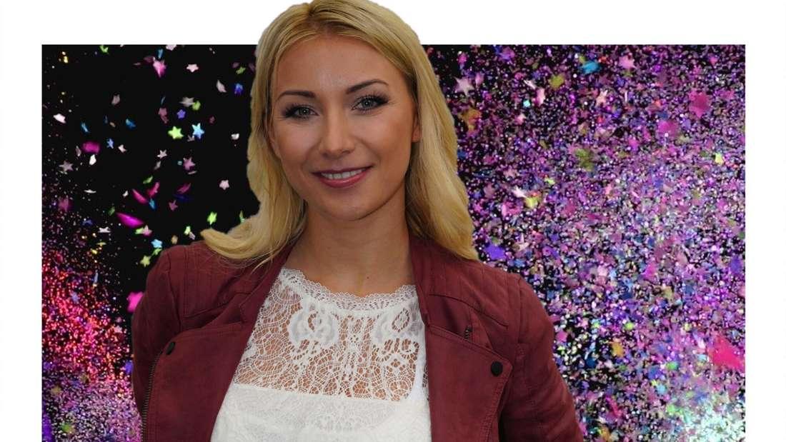 Anna-Carina Woitschack lächelt vor einem Hintergrund aus Konfetti. (Fotomontage)