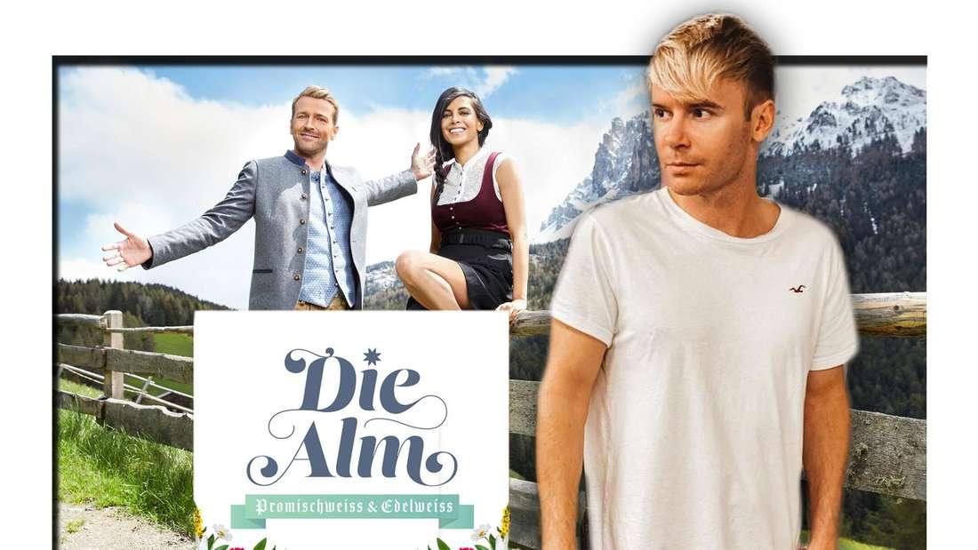 Fotomontage: Collien Ulmen-Fernandez, Christian Düren und Ramon Wagner vor Alm mit Plakat