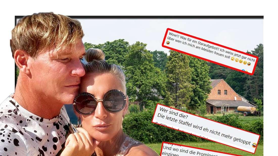 """Peggy und Steff schauen in die Kamera - dahinter ist das """"Sommerhaus der Stars"""" zu sehen (Fotomontage)"""