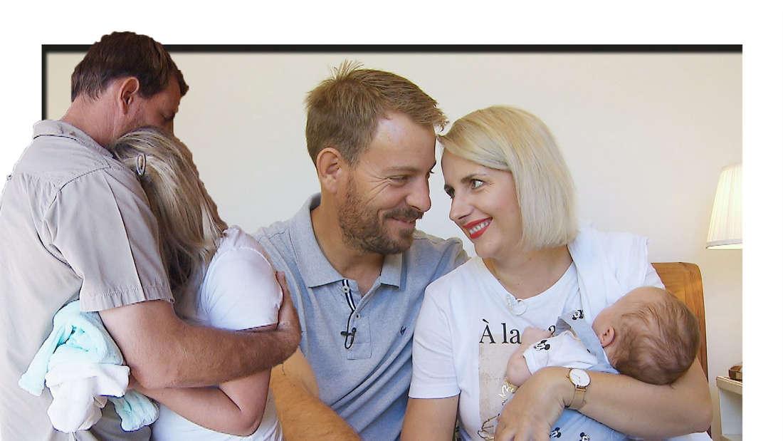 Gerald Heiser umarmt seine Frau Anna - im Hintergrund sind sie gemeinsam mit ihrem Sohn Leon zu sehen (Fotomontage