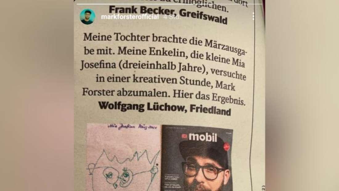 Instagram-Screenshot der Story von Mark Forster, welches eine Seite des Deutsche Bahn-Magazins mobil zeigt