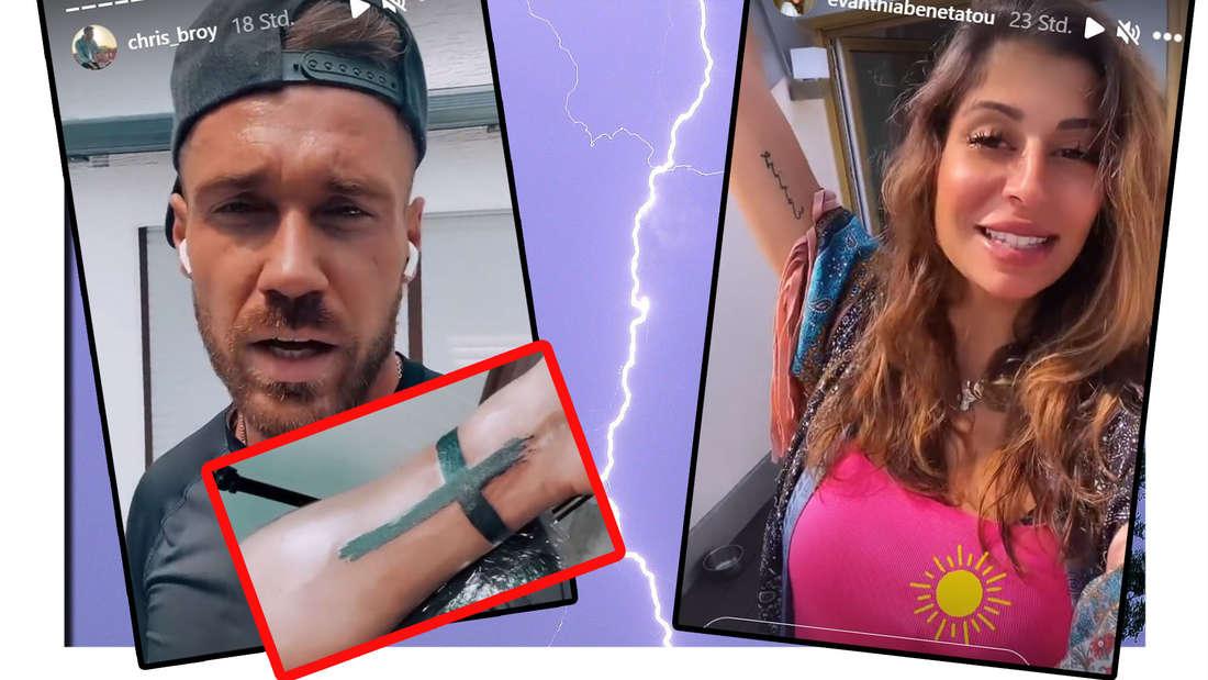 Fotomontage: Chris Broy mit neuem Kreuz-Tattoo und Eva Benetatou vor Blitz