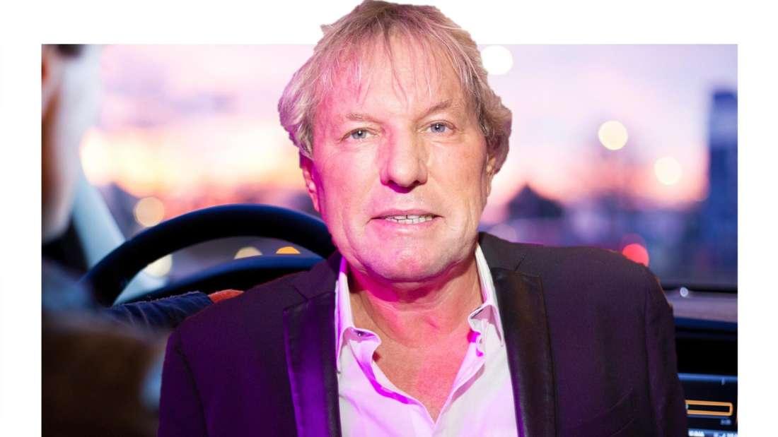 Bernhard Brink, im Hintergrund die Sicht aus einem Auto. (Fotomontage)