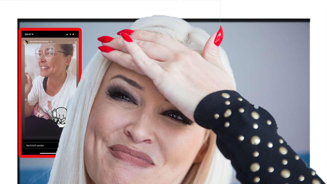 Daniela Katzenberger hält ihre Hand vor die Stirn und lächelt (Fotomontage)