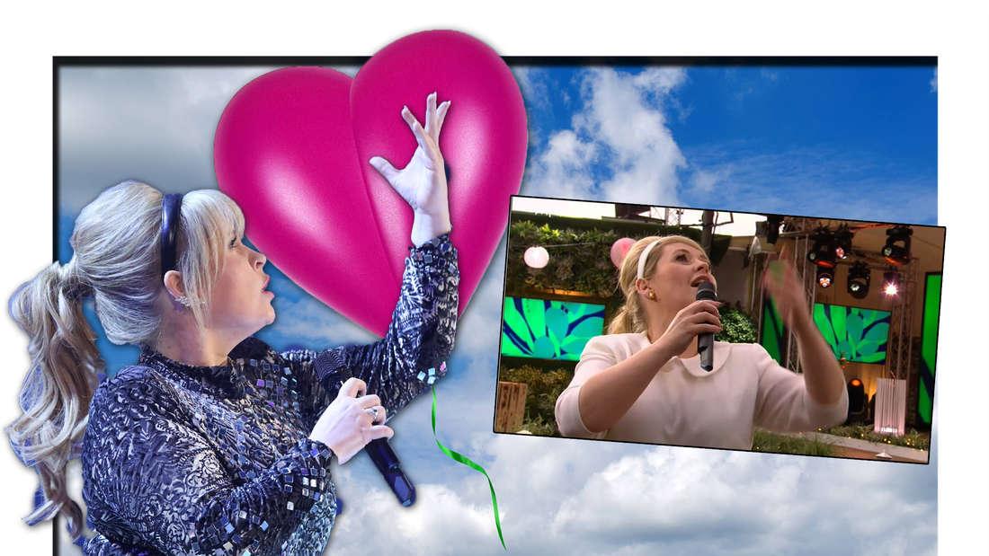 Maite Kelly sucht verzweifelt nach der Liebe - Sie lässt mit Stefanie Hertel einen Luftballon steigen (Fotomontage)