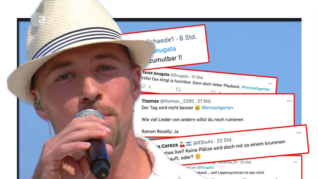 Ramon Roselly beim ZDF-Fernsehgarten auf der Bühne. Daneben: Tweets zu seinem Auftritt (Fotomontage)