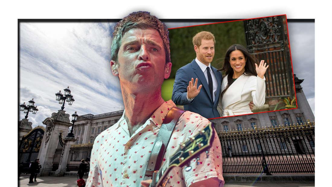 Oasis-Star Noel Gallagher steht neben einem Foto von Prinz Harry und Meghan Markle vor dem Buckingham Palace (Fotomontage)