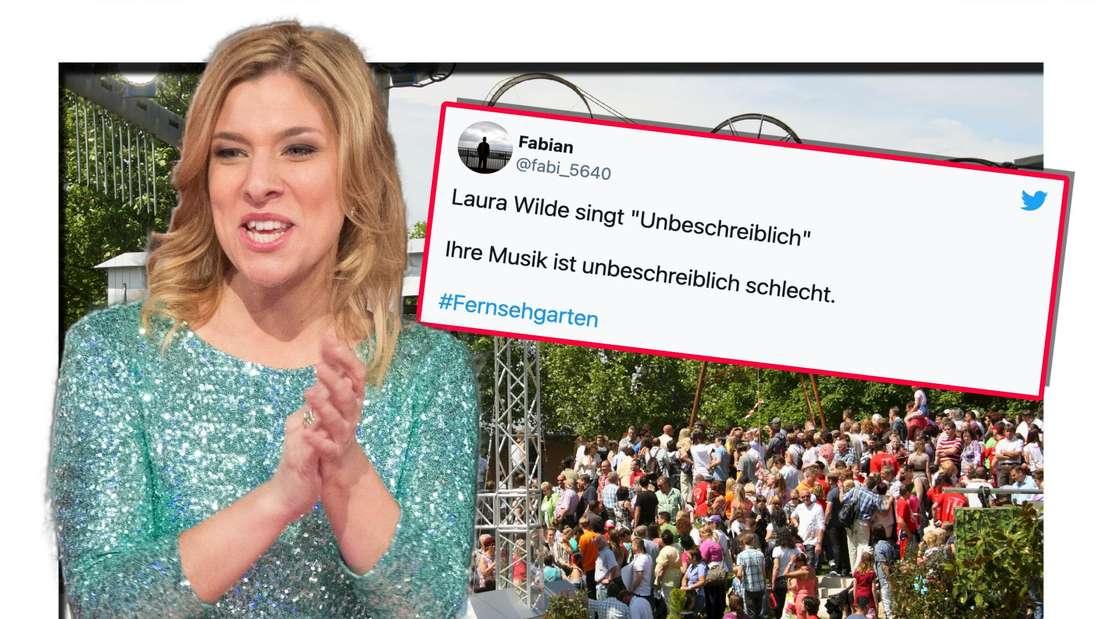 Laura Wilde klatscht, im Hintergrund sieht man das Fernsehgarten-Set-Up und den Screenshot eines Tweets (Fotomontage)