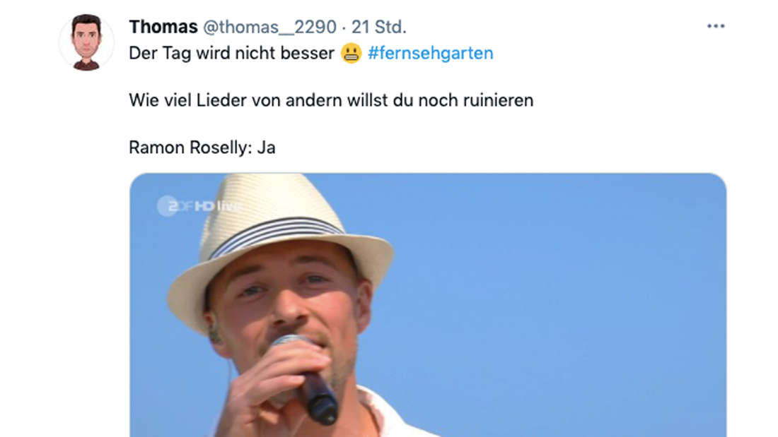 Tweet zu Ramon Rosellys Auftritt im ZDF-Fernsehgarten am 13. Juni 2021