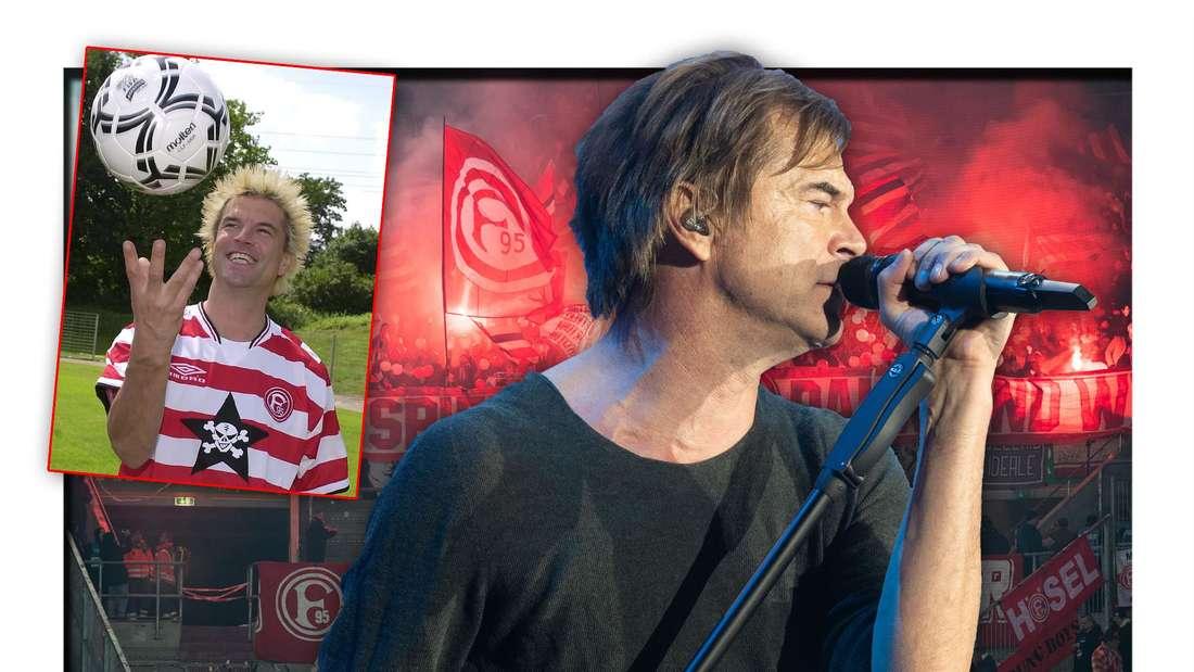 Die Toten Hosen-Frontmann Campino steht vor den Fans von Fortuna Düsseldorf, daneben eine Aufnahme des Sängers im Trikot (Fototmontage)