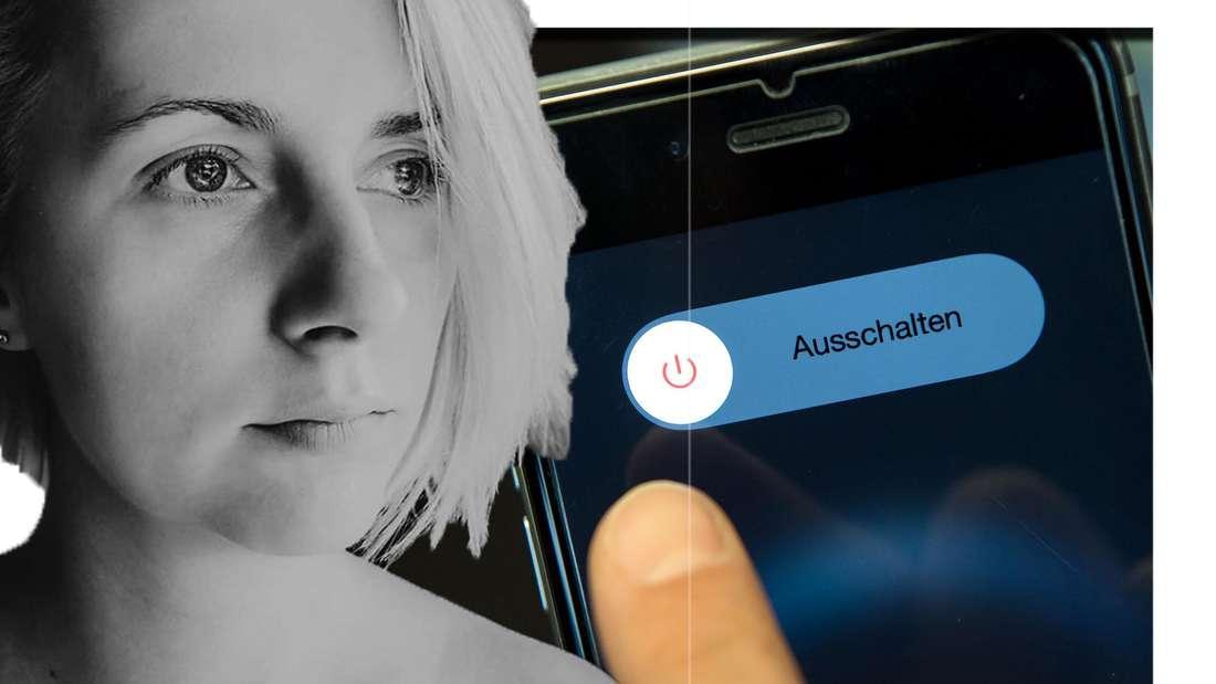 Anna Heiser schaut seitlich in die Kamera - im Hintergrund ist ein Handy zu sehen (Fotomontage)