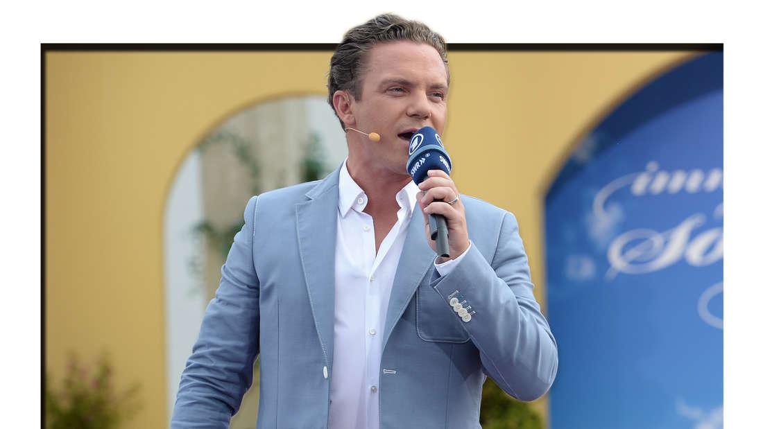 "Stefan Mross singt am 13.07.2014 bei der ARD-Musikshow ""Immer wieder sonntags"" im Europa-Park in Rust. (Fotomontage)"