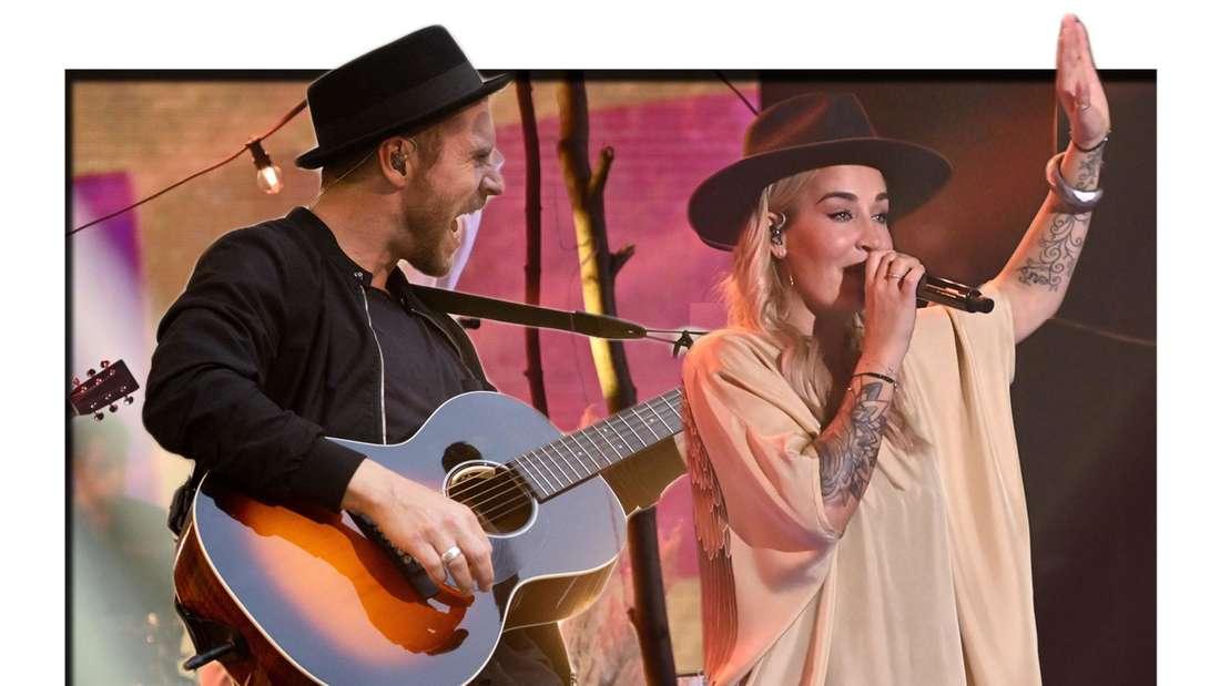 Fotomontage: Sarah Connor und Johannes Oerding am Set von The Voice of Germany