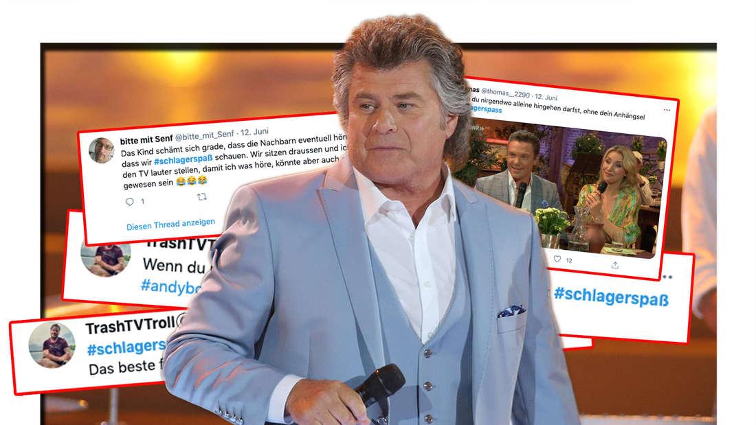 """Andy Borg bei """"Willkommen bei Carmen Nebel"""" am 13.07.2019 in Offenburg. Dahinter: Tweets zum """"Schlager-Spaß mit Andy Borg"""" vom 12.06.2021 (Fotomontage)"""