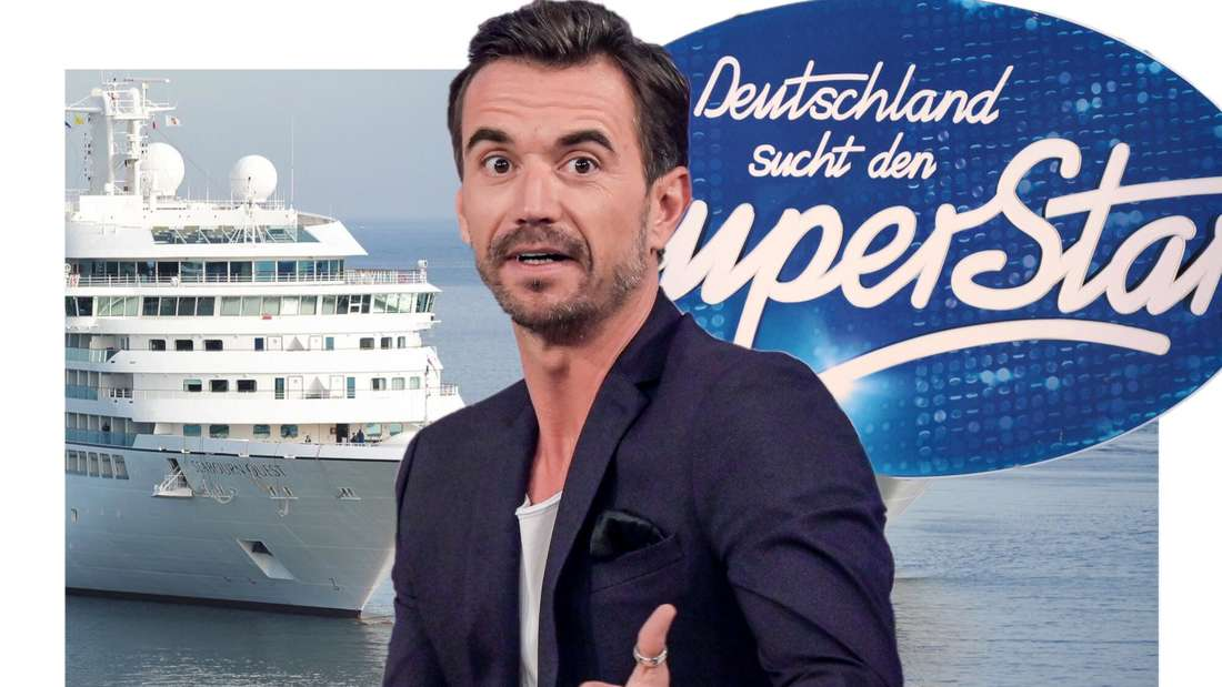 Florian Silbereisen vor einem Kreuzfahrtschiff auf der einen Seite und dem DSDS-Logo auf der anderen Seite. (Fotomontage)