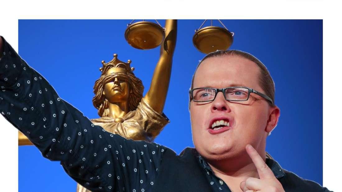 Angelo Kelly vor Justitia (Fotomontage)