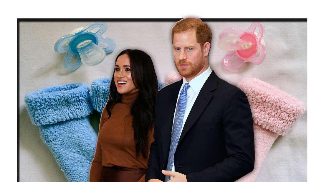 Meghan Markle und Prinz Harry stehen vor Schnullern und Baby-Söckchen (Fotomontage)