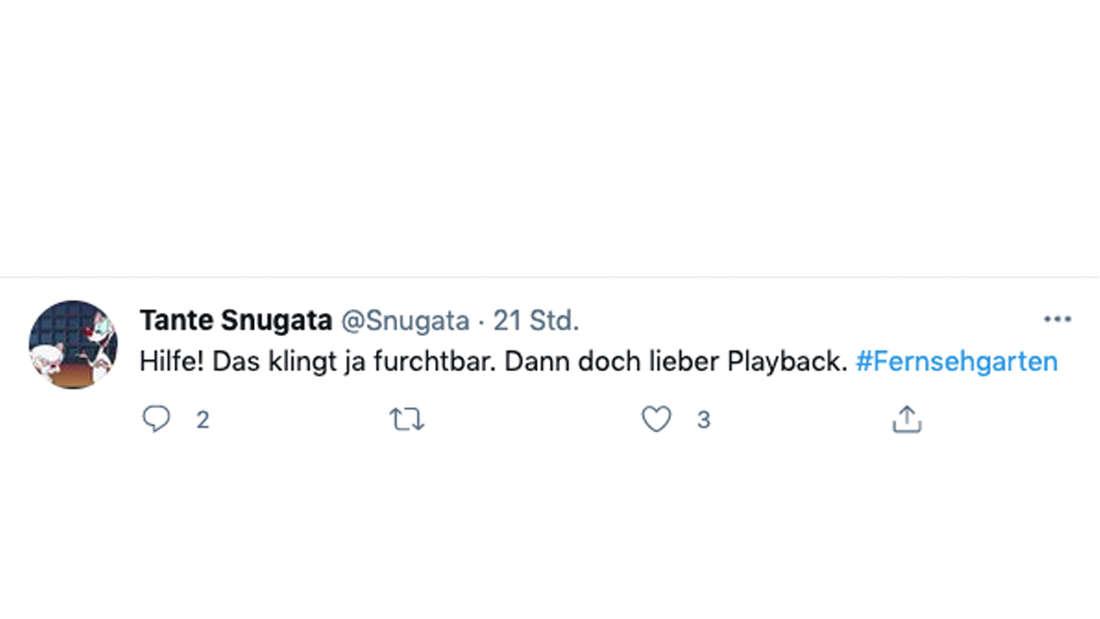 """Tweet von Userin """"Snugata"""" zu Ramon Rosellys Auftritt im ZDF-Fernsehgarten am 13. Juni 2021"""
