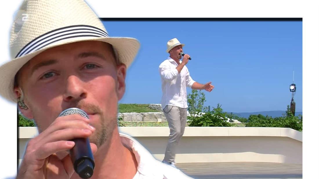 Ramon Roselly am 13. Juni 2021 im ZDF-Fernsehgarten auf der Bühne (Fotomontage)
