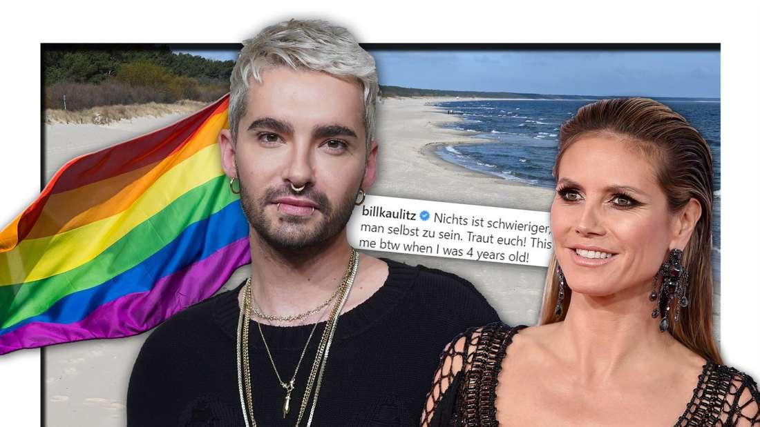 Bill Kaulitz (Tokio Hotel) und GNTM-Chefin Heidi Klum stehen vor einem leeren Strand, daneben eine Regenbogenfahne (Fotomontage)