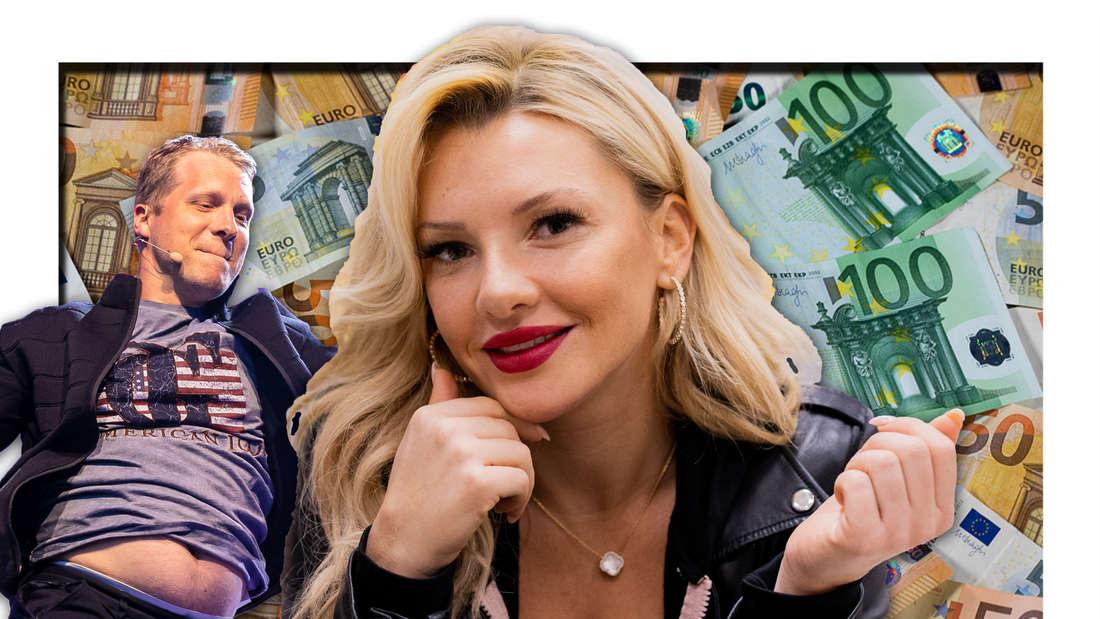 Evelyn Burdecki und Oliver Pocher vor Geldscheinen (Fotomontage)