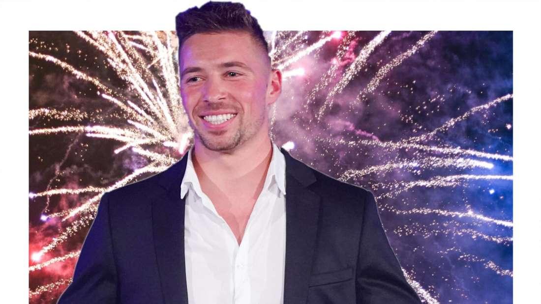 Ramon Roselly vor einem Hintergrund aus Feuerwerk (Fotomontage)